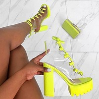 Sandal boots, lace-up fish mouth PVC women boots, candy color transparent PVC thick heel boots