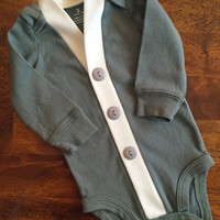 Baby Cardigan One Piece, Khaki Green Infant Cardigan, Baby Boy, Child Cardigan, Long Sleeve Cardigan, Baby Shower Gift