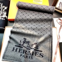 Hermes new men's and women's knit long cashmere scarf