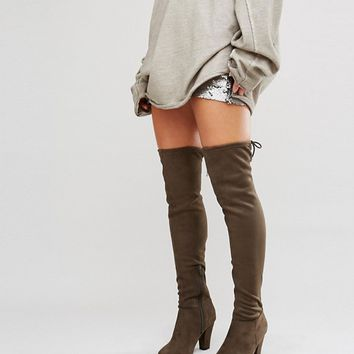 Call It Spring Qeiven Khaki Sock Heeled Over The Knee Boots at asos.com