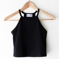 Halter Crop Tank Top - Black