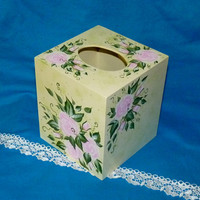 Hand Painted Tissue Box Cover Wood Tissue Holder Boutique Shabby Chic Roses TB