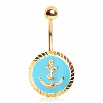 Gold Plated Blue Anchor Seal Navel Ring