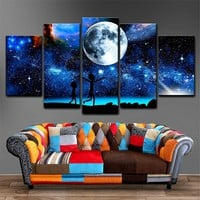 Canvas Paintings Home Decor 5 Pieces Rick And Morty Pictures HD Prints Starry Sky Moon Poster For Living Room Wall Art Framework