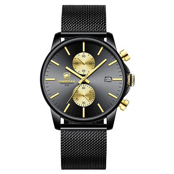 GOLDEN HOUR Men's Watches Fashion Sport Quartz Analog Black Mesh Stainless Steel Waterproof Chronograph Wrist Watch, Auto Date in Blue/Red/Gold Hands black gold
