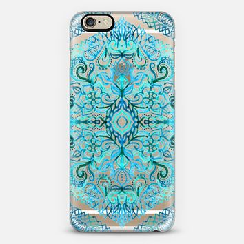 Watercolor Lace Doodle in Bright Blues on Transparent iPhone 6 case by Micklyn Le Feuvre | Casetify