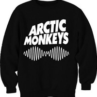 Arctic Monkey Musical Band Logo With Sound Wave Crew Neck Trendy Fashion Unisex Sweatshirt