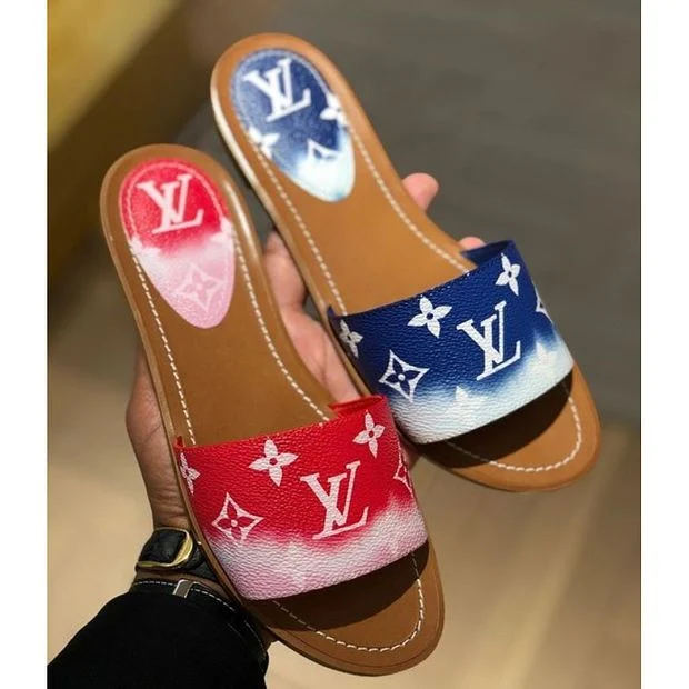 Image of Louis Vuitton LV new ladies color matching printed letters casual home sandals slippers shoes
