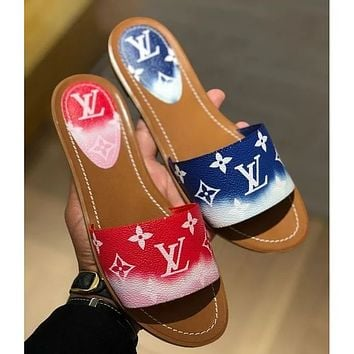 Louis Vuitton LV new ladies color matching printed letters casual home sandals slippers shoes