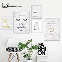 Fashion Canvas Art Poster Print Perfume Eyelashes Marble Painting Nordic Style Wall Picture for Living Room Decor