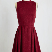 Mid-length Sleeveless A-line Seeking Regal Advice Dress in Textured Burgundy