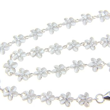 "STERLING SILVER 925 HAWAIIAN PLUMERIA FLOWER ANKLET CZ 6MM 9 1/2""+"