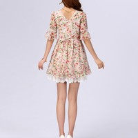 Liz Lisa Style Lace Hem Floral Dress