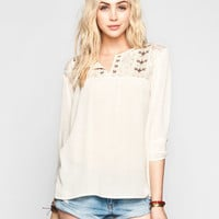 Full Tilt Embroidered Lace Yoke Womens Peasant Top Cream  In Sizes