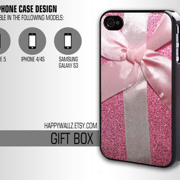Pink Glitter Gift Box Iphone Case Cute Iphone Bow 4 case Hipster Iphone 5 case Iphone 4s case Samsung Galaxy S3 Case Iphone 4 Cover