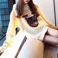"""""""Gucci"""" Women Loose Casual Letter Print Embroidery Sequin Cat Head Long Sleeve Pullover Hooded Sweater Tops"""