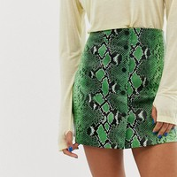 Stradivarius snake mini skirt pu in green at asos.com