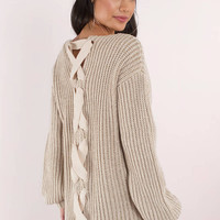 Getting Warmer Lace Up Sweater