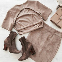 Suede Stripped Back Two-Piece Dress