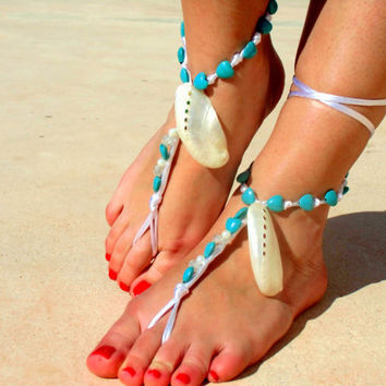 Barefoot Sandals, turquoise, beach wedding Foot jewelry, Wedding, Victorian Lace, Sexy, Yoga, Anklet , Bellydance, Steampunk, Beach Pool