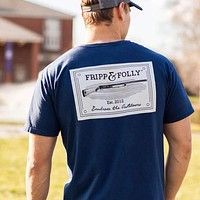 Shotguns Patch T-Shirt in Navy by Fripp & Folly