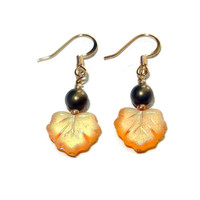 Iridescent Yellow and Copper Leaf Beaded Dangle Earrings