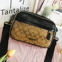 COACH fashion hot sale printed patchwork leather casual men's and women's Fanny packs