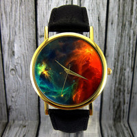Colorful Nebula Space Watch | Leather Watch | Ladies Watch | Mens Watch | Gift Idea | For Him | For Her | Custom Watch | Fashion Accessory