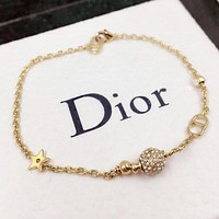 Dior New fashion star letter diamond bracelet Golden