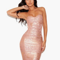 Pink Strapless Bodycon Dress