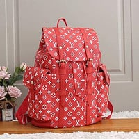 LV Louis Vuitton Classic Plaid Letter Printing Large Capacity Daypack Fashion Men's and Women's Backpack Schoolbag  2