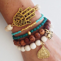 Teal and Cream Gypsy Bracelet Stack, Boho Beaded Arm Candy