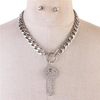 "10.50"" crystal clear key heart choker toggle necklace .40"" earrings"