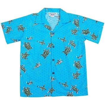 turtle swim teal boy hawaiian shirt