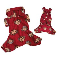 Silly Monkey Hooded Pajamas — Red