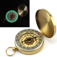 Camping Hiking  Pocket Compass  Brass Watch Style Outdoor Camping Hiking Navigation Compass Ring Keychain #40