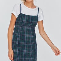 UO Straight-Neck Plaid Mini Dress   Urban Outfitters