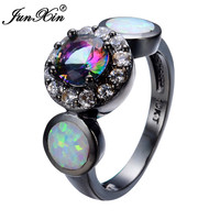 Rainbow Round Female Opal Ring 2017 Black Gold Filled Jewelry Natural Stone Wedding Rings For Men And Women Bijoux Anel RB0306