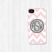 Personalized iPhone 4 Case, iPhone 5 Case, Preppy Pink Chevron Gray Monogram, iPhone Case, Phone Case, iPhone Cover (213)