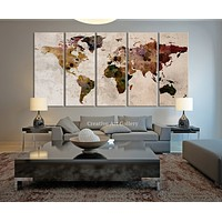Map Art Large Canvas Print Rustic World Map Large Wall Art Extra Large Vintage World Map