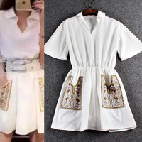 White Wing Collar Embroidered Bell Sleeves Elastic Waist Pleated  Mini Dress