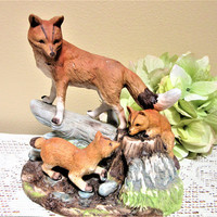 Fox Family Figurine Lipco Porcelain Ceramic Mother Babies Large blm