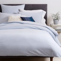 Organic Washed Cotton Stripe Duvet Cover + Shams - Kyoto Blue