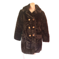 Brown Faux Fur Coat Double Breasted Coat Women Winter Coat Vegan Coat 60s Coat 1960s Coat Ladies Winter Coat 60s Clothing 60s Clothes