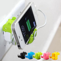 3pcs a lot!green Mouse Creative Iphone charger case IPhone Stand and White Usb cable cord and usb charger