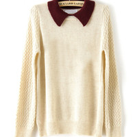 Apricot Contrast Collar Long Sleeve Pullovers Sweater - Sheinside.com