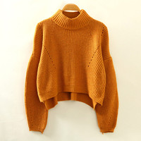 Khaki Turtleneck Knitted Sweatshirt
