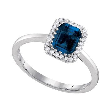14k White Gold Blue Sapphire Solitaire Diamond Ring 1-1/5 Cttw