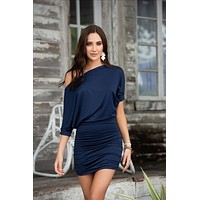 Navy Blue Off The Shoulder Silhouette Mini Dress (Many colors available)