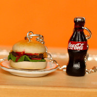 Polymer clay burger and coke necklace